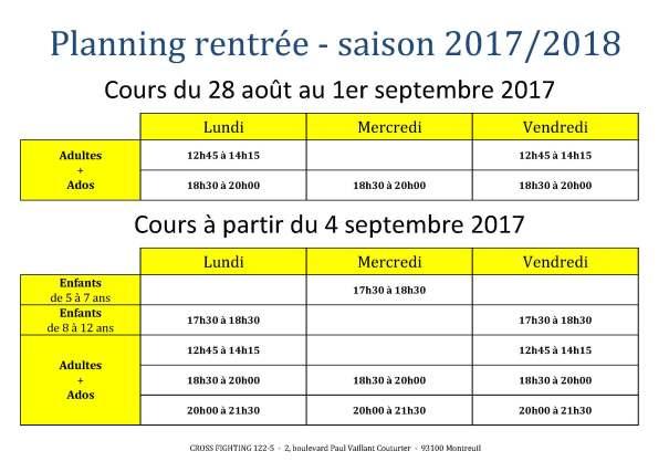 planning rentrée 2017-2018